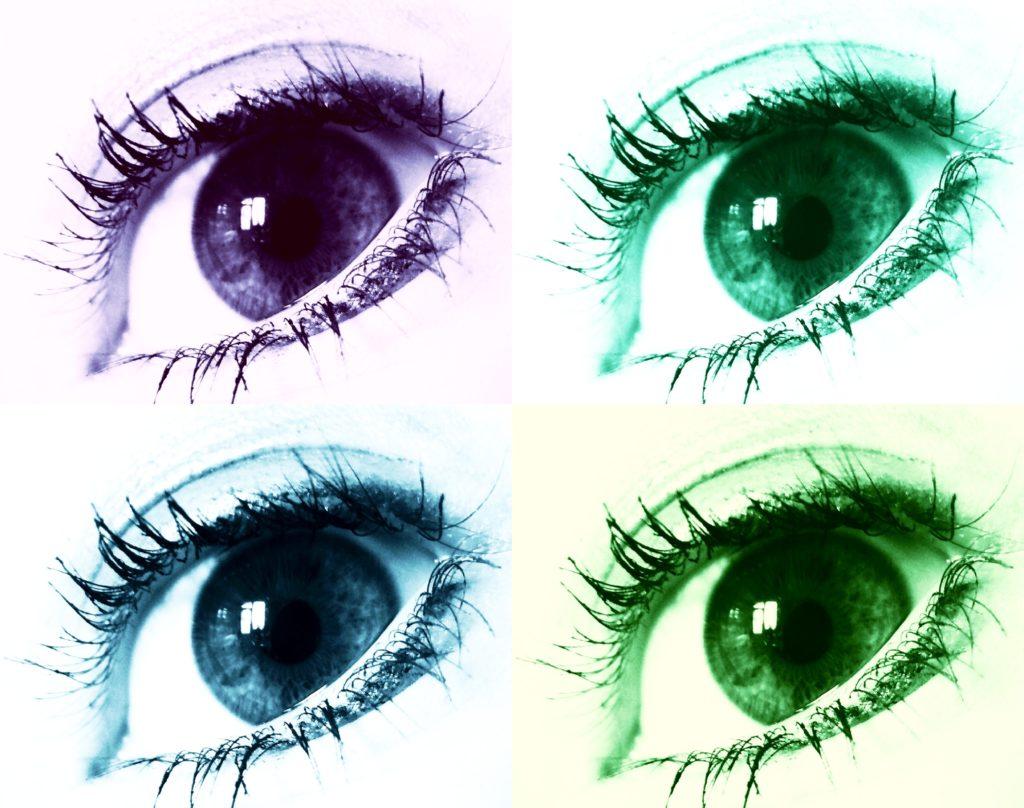 4 Augen in verschiedener Farbe.